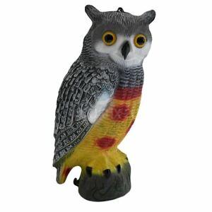 DECOY OWL REALISTIC LARGE GARDEN POND PEST PROTECTION BIRD SCARER SCARECROW