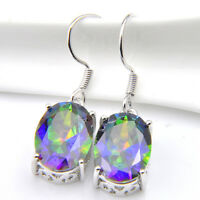 Wedding Gift Natural Shiny Rainbow Mystic Topaz Gems Silver Dangle Hook Earrings