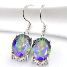 Wedding Gift Natural Shiny Rainbow Mystic Topaz Gems Silver Dangle Hook Earrings