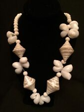 """Vintage 1950's Natural White Seashell with Sponge Coral Beads Necklace 24""""Long"""