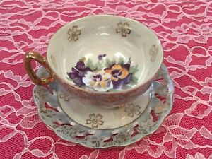 Vintage Exclusive B.P. Tea Cup Teacup & Saucer Blue Gold Footed Japan