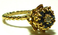 14K YELLOW GOLD FLOWER CATHEDRAL BLUE SAPPHIRE DIAMOND STACKABLE RING BAND SZ5.5