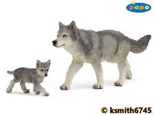 Papo GREY WOLF & CUB solid plastic toy wild animal dog predator * NEW *💥