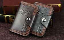 Mens Men's Retro Leather Vertical Section Credit Card Holder Wallet with Hasp