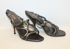 AZZEDINE ALAIA Ladies Silver Metallic Leather Strappy Sandal Shoes UK5.5 EU38.5