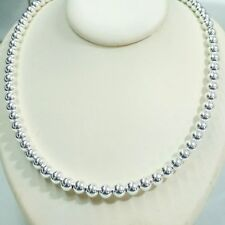 "20"" 50cm Genuine 925 Sterling Silver 8mm Seamless Beads BEADED NECKLACE Handmade"