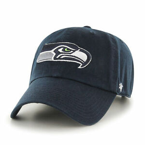 Seattle Seahawks 47 Brand Clean Up Navy Adjustable On Field Cotton Hat Cap NFL