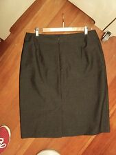 sportscraft grey  skirt  as bought  wool suiting weight with top stitch detail