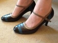 M&S LIMITED COLLECTION 5 LEATHER BROWN/TURQUOISE/ BUFF MARY JANE SHOES  5 EXC