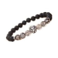 New Fashion Men's Black Lava Stone Silver Lion Beaded Cuff Charm Bangle Bracelet