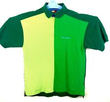Tommy Hilfiger Polo Zip Up Mens Size M Medium Green Colorblock Retro Vintage SS