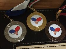 3 x TABLE TENNIS MEDALS(40mm )GOLD,SILVER & B - FREE ENGRAVING,CENTRES & RIBBONS