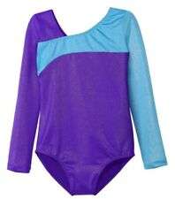 HOZIY Gymnastics Leotards for Girls 9-10 Long Sleeve Purple Blue Shiny Unitards