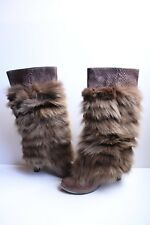 Devi Kroell Gray Fox Python Brown Women's Boots EU 40.5 (US 10)