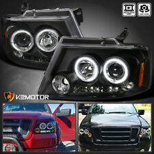 For 2004-2008 Ford F150 LED Dual Halo Projector Headlights Black Pair Left+Right