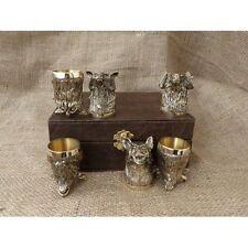 Set 6 Shot Glasses Figurine Hunters Lodge Gift Bronze Handmade Limited Edition