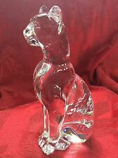 FLAWLESS Exquisite BACCARAT Art Glass Crystal PUMA COUGAR EGYPTIAN CAT Figurine