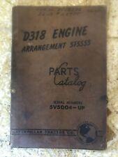 Caterpillar Cat D318 Engine Arrangement 5F5555 Parts Catalog Manual 5V5004-Up