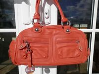 BARR + BARR Orange Leather Handbag Optional Crossbody Purse