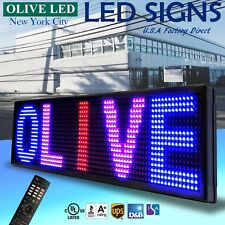 """OLIVE LED Sign 3Color RBP 15""""x40"""" IR Programmable Scroll. Message Display EMC"""