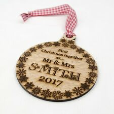 First Christmas Together Personalised Tree Decoration. Wooden Bauble, Xmas Gift.