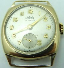Vintage 9ct gold cushion case gents 15jewel Swiss gents wristwatch Working Order