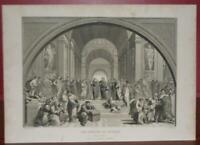 Antique Original 1870's Engraving Ancient Greece School of Athens Print