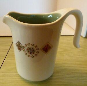 Vintage Retro Creamer Cup Pitcher cream & green floral fruit pattern