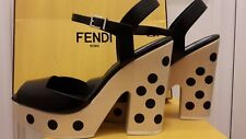 FENDI Luxury Leather Sandals Shoes. Polka Dot Heels. Black. 7uk (40.5eur 10usa)