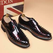 Mens Lace Up Shiny Leather Business Casual Rivet Pumps Wedding Pointy Toe Shoes