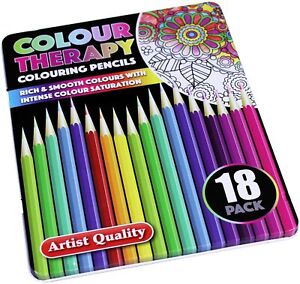 Artists Quality Professional Premium 18 Colouring Pencils Colour in a Tin Box UK
