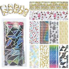 Nail Art Full Tips Foil Wraps Decals Stickers - Pack Of 10 Multi Designs (N22)