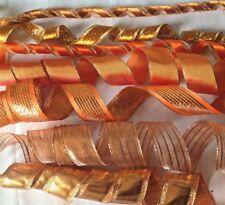 *SALE* 17 METERS BEAUTIFUL FABRIC RIBBONS (COPPER, ORANGE, BRONZE)