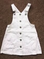 Exchainstore White Denim Dungaree Pinafore Dress 6 7 8 9 10 11 12 13 14 Years