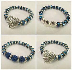 8MM ROYAL BLUE GLASS BEADS SHAMBALLA STYLE STRETCH BRACELETS - TOP QUALITY