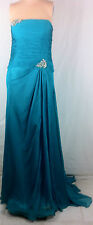 New Womens Pleated Chiffon Teal Strapless Gown Gems Beads Sequins Dress 14