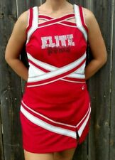 Real Authentic GTM Adult Cheerleading Uniform Cheer Skirt Top Red White Silver