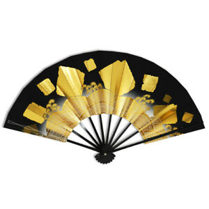 Japanese Odori Dance Hand Held SENSU Folding Fan Gold Wave Black /Made in Japan