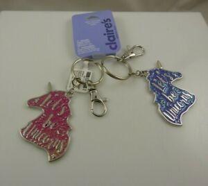 Bling key Key chain keychain lets be unicorn best friends set star purple pink