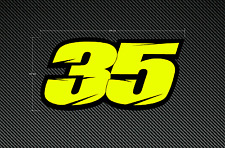 2 x CRUTCHLOW 35 Stickers/Decals Large 200mm - Fluorescent & Laminated - Moto GP