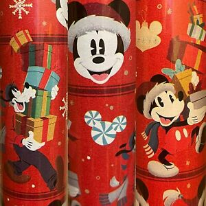 1 Roll Red Disney A Mickey Mouse and Goofy Christmas Wrapping Paper 70 sq ft