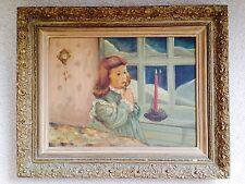 Original Oil - Portrait of a darling little girl - signed by M. Gerberg