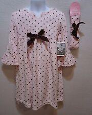 Girls 4T Dress Pink Brown Polka Dot Velour Bell Sleeves NWT