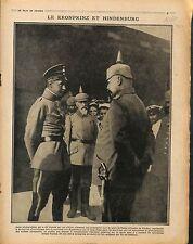 Kronprinz & Maréchal Hindenburg Pickelhaube Camouflage Canon Artillerie 1917 WWI