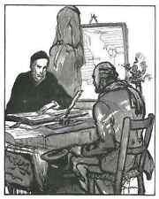 Emilien Dufour-en conversación-original corte de madera 1925