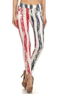 Yelete American Flag Red White & Blue Stripe Original 5 Pocket Jegging