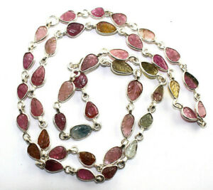 Beautiful Necklace Multi Color Tourmaline Carved Gemstones 925 Sterling sliver