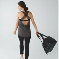 LULULEMON Wild Tank Size 6 Heathered Black Sports Bra Strappy Yoga Activewear