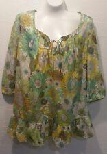 Liberty Of London for Target shirt  green yellow etc sunflower tunic MEDIUM