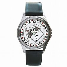 Poker Playing Cards Casino Gambler Vegas Leather Watch New!